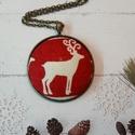 Rudolf - nagy textilgombos nyaklánc, Ékszer, Medál, Nyaklánc, 40 mm textilgomb bronz színű medálalapban., Meska
