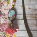 J'adore Párizs - könyvjelző üveglencsével, Naptár, képeslap, album, Könyvjelző, Ékszerkészítés, 12, 5 cm bronz könyvjelző gyöngyökkel, virágos bojttal és 18x25 üveglencsés medállal díszítve., Meska