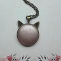 My cat - rosegold bőrgombos cicafüles nyaklánc, Ékszer, Nyaklánc, Medál,  Cicafüles medál rosegold színű 25 mm bőrgombbal, választható ezüst vagy bronz alap. Az ár ..., Meska