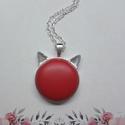 My cat - piros bőrgombos cicafüles nyaklánc, Ékszer, Nyaklánc, Medál,  Cicafüles medál piros 25 mm bőrgombbal, választható ezüst vagy bronz alap. Az ár a medálra ..., Meska