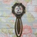 Vintage - üveglencsés könyvjelző, Naptár, képeslap, album, Könyvjelző, Ékszerkészítés, Antik bronz 8 cm hosszú alapban 18 mm üveglencse., Meska