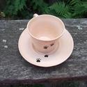 Tappancsos kávéscsésze alátéttel, Konyhafelszerelés, Bögre, csésze, Mokkás méretű csésze, hozzá illő alátéttel, korongolt, kézzel festett. Két színben van, mindegyikből..., Meska