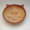 Cicatálka, cica etetőtál, Állatfelszerelések, Macska kellékek, Cicafejet formázó etetőtálka macskaeledel ízléses felszolgálására. :) Kézzel korongolt, kézzel díszí..., Meska