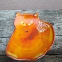 Róka formájú kerámia tálka narancs effektmázzal, Konyhafelszerelés, Dekoráció, Otthon, lakberendezés, Tárolóeszköz, Kézzel korongolt kerámia tálka, ülő róka formájúra vágva.  Különleges narancs effektmázzal mázaztam,..., Meska