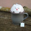 Cicás szűrős bögre fedővel, filtertartós bögre , Újabb mókás cicamica társ a teázós estékhez...