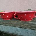 Piros pöttyös tányér szett, leveses tálkák 2 személyre, Öblösebb formájú korongolt tányér szett, ké...