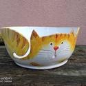 Fonaltartó cica XL méretben, pólófonalhoz, Mázas kerámia tálka, mint segédeszköz kötés...