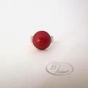 Rusztikus piros kerámia gyűrű, Ékszer, Gyűrű, Ékszerkészítés, Kerámia, Rusztikus felületű piros mázas kerámia gyűrű. A kerámiadísz mérete: 1,2 cm Ezüst színű, csipkézett,..., Meska