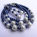 Elegáns kék-fehér gyöngysor és karkötő, ajándék fülbevalóval, Kék-fehér üvegtekla gyöngysor, karkötő és f...