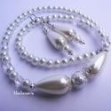 Gyöngyházfény ékszerszett menyasszonyoknak, Gyöngyházfényű nyaklánc és fülbevaló fő d...