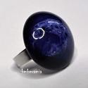 """GALAXIS - Kék-fehér mázas kerámia gyűrű, Ékszer, Gyűrű, Kézzel formázott kerámia gyűrű különlegessége a megismételhetetlen  """"galaxisos"""" mintázat, melyet a k..., Meska"""