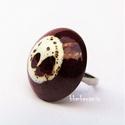 KARAMELL SZIGETEK - Barna-fehér mázas kerámia gyűrű, Csillogó, barna mázzal fedett, vörös agyagból...
