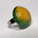 NAGY SÁRKÁNYSZEM - kerámia gyűrű, Ékszer, Gyűrű, Saját kezűleg készített kerámia gyűrű, különleges mesebeli sárkányszemet idéző mintázattal.  A zöld ..., Meska