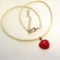 Nyaklánc kis piros szív alakú kerámia medállal , Szolid, mégis elegáns ez a kis piros mázas, ké...