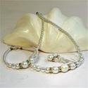 Bella - Alkalmi, menyasszonyi ékszerszett kristályos rondellákkal - gyöngysor karkötő és fülbevaló, Mértéktartó elegancia kedvelőinek! A klassziku...