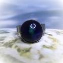 Kék-zöld színű, csipkés kerámia gyűrű, Selymes fényű, kékeszöld színű kerámia gyű...