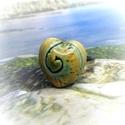 Zöld-sárga spirál mintás kerámia gyűrű, A nyár egyik kedvence ez a spirál mintás, szív...