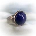 Kék kerámiadíszes nemesacél gyűrű 1,2 - Ajándék lányoknak nőknek névnapra születésnapra, Különleges, fényes kék mázas kerámiagyűrű ...