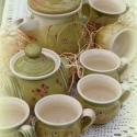 kávéskészlet tavaszi frissességgel, Konyhafelszerelés, Otthon, lakberendezés, Bögre, csésze, Kancsó , Kávéskészletem 6 mokkás csészéből, cukros vagy mézes edényből és egy kancsóból áll. Fehér agyagból k..., Meska