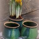 virág kaspók , Dekoráció, Otthon, lakberendezés, Tárolóeszköz, Kaspó, virágtartó, váza, korsó, cserép,  Ültetéshez, szépítéshez kiskaspóim virágoknak, pozsgásoknak, kaktuszoknak... Korongolt edények zöld..., Meska
