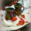 bögrék őszi párban, Dekoráció, Konyhafelszerelés, Otthon, lakberendezés, Bögre, csésze, Újabb szűrős teásbögrék őszi téli páros teázáshoz. Korongoltak vörösre égő agyagból, színes melenget..., Meska