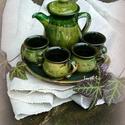 kávésbögre kvartett olivában, Konyhafelszerelés, Bögre, csésze, Kávésbögrék, mokkás szett 4 személyre kannával, tálcán mely apró sütikhez is megfelel. Korongolt edé..., Meska