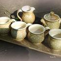 kávés  hosszútálcás készlet, Konyhafelszerelés, Bögre, csésze, Tálca, Kerámia, Kávézás 4 személyre kiöntővel cukros edénnyel egy hosszú tálcán. Tárolhatod a bögréket, de  sütemén..., Meska