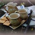 nyári kávés kekszes szettes, Konyhafelszerelés, Otthon, lakberendezés, Bögre, csésze, Kancsó , Kávés, hosszú -kávés szett 2 bögrével kancsóval és süti tálcával! Korongolt edények, a bögrék kb-. 2..., Meska