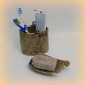 szappantartó fogkefetartóval, Szépségápolás, Otthon, lakberendezés, Dekoráció, Fürdőszobai kellék, Fürdőszobába készült szett szappantartóval és fogkrém-fogkefetartó edénnyel. Lapedényként készült, n..., Meska