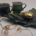 """kávés bögre párban fenyő tálkával, Konyhafelszerelés, Dekoráció, Bögre, csésze, Ünnepi dekoráció, Kerámia, Téli kávézás ünnepi hangulatban, korongolt bögrékből sütis tálkával párban. """" Tündérkék """" kollekció..., Meska"""
