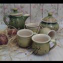 kávés kvartett, Konyhafelszerelés, Otthon, lakberendezés, Dekoráció, Bögre, csésze, Tavaszi frissességgel ihletett, rétek üde harmatjával a reggeli napfény ízével a kávé mellé...  Koro..., Meska