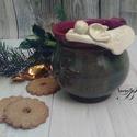 bögre angyalkával, Konyhafelszerelés, Otthon, lakberendezés, Dekoráció, Karácsonyi, adventi apróságok, Bögre, csésze, Ünnepi dekoráció, Teásbögre vagy kakaós -tejeskávés nagy öblös kézbe illő... melyet angyalka vigyázza. Korongolt bögre..., Meska