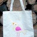 Madaras textilszatyor, Molinóból készült ez az applikált madárral d...