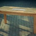 Vörösfenyő asztal, Bútor, Pad, Massziv tömör vörösfenyő asztal kőberakással. 90x74x190 Vörösfenyőből készült  mert kiv..., Meska