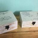 Vintage doboz, Dekoráció, Otthon, lakberendezés, Decoupage, transzfer és szalvétatechnika, Famegmunkálás, Antik hatású doboz,transzfer eljárással készült rétegelt lemezből. Rendelhető bármilyen színben és ..., Meska