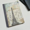 Paris , Eiffel Tower, A napló kézi kötéssel készült, papír borít...