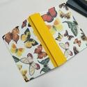 Pillangós napló, színes belívekkel., A napló kézi kötéssel készült, papír borít...
