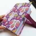 Fehér elefántos napló, lila masnival, A napló kézi kötéssel készült, papír borít...