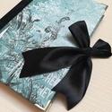 Türkiz és fekete mintás egyedi napló, A napló kézi kötéssel készült, papír borít...