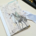 Fehér Unicornis- egyedi napló, A napló kézi kötéssel készült, papír borít...