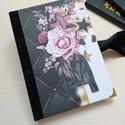 Glam Rock - Egyedi napló vagány csajoknak, A napló kézi kötéssel  készült. fekete selye...