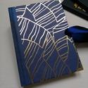 Blue and Gold Diary- Egyedi kék és arany mintás napló, A napló kézi kötéssel készült, papír borít...