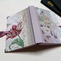 Vintage hangulatú tulipános egyedi napló , A napló kézi kötéssel készült, papír borít...