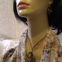 Drót nyaklánc szett-barna-arany-fekete, Ékszer, Ékszerszett, A termék drótból készült csillogó barna arany és fekete színű. Mérete: 9 cm hosszú, szél..., Meska