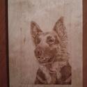 """""""Németjuhász"""" pirogravírozott kutya portré, kézzel égetett, Dekoráció, Kép, Mindenmás, Fotó, grafika, rajz, illusztráció, Natúr fa lapra, pirográf pákával, kézzel égetett fiatal németjuhász porté, kutyabarátoknak, a fajta..., Meska"""
