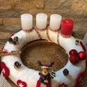 Adventi koszorú, Dekoráció, Ünnepi dekoráció, Karácsonyi, adventi apróságok, Koszorú, Rénszarvasos, kézzel készített 30 cm átmérőjű koszorú, polár anyaggal bevonva., Meska