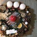 Adventi koszorú, Dekoráció, Karácsonyi, adventi apróságok, Ünnepi dekoráció, Karácsonyi dekoráció, Mindenmás, Egyedi kézzel készített koszorú. Átmérője 26cm. Szalma alapú, amit műfenyővel borítottunk majd term..., Meska
