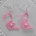 Hajócsipke fülbevaló, Ékszer, óra, Fülbevaló, Csipkekészítés, Rózsaszín, romantikus, hattyú forma csipke fülbevaló.  100%-os pamut horgolócérnából készítettem, h..., Meska