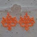 Hajócsipke fülbevaló, Ékszer, óra, Fülbevaló, Csipkekészítés, Narancssárga, romantikus, kecses, csipke fülbevaló.  100%-os pamut horgolócérnából készítettem, haj..., Meska