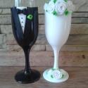 Rózsa  esküvői pohár pár 2, Esküvő, Nászajándék, Esküvői dekoráció, Egyedi kézzel készített pohár pár. Süthető gyurmát használtam a díszítéshez. Bármilyen színösszeállí..., Meska